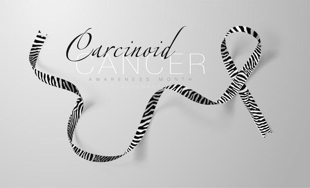 Conception affiche calligraphie sensibilisation cancer carcinoïde ruban rayure zèbre réaliste
