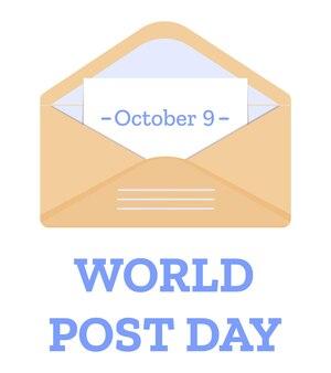 Conception d'affiche de carte de voeux de la journée mondiale de la poste 9 octobre avec enveloppe ouverte avec lettre