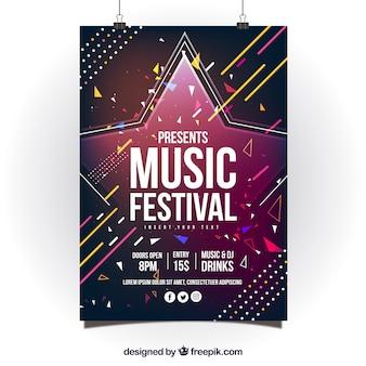 Conception d'affiche colorée abstraite pour la fête de la musique