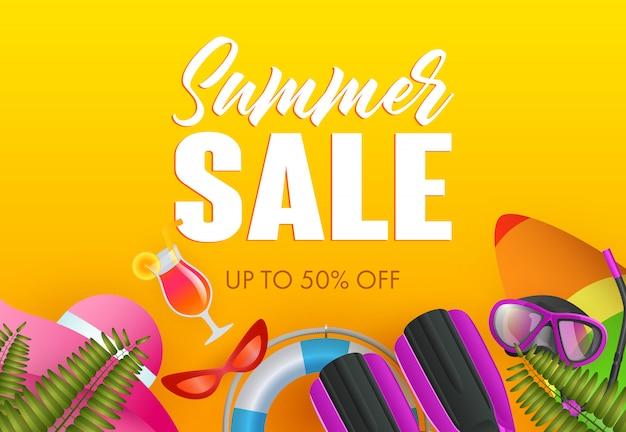 Conception d'affiche colorée de vente d'été. bouée de sauvetage