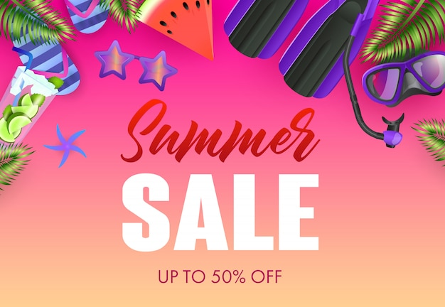 Conception d'affiche colorée de vente d'été. mojito, masque de plongée