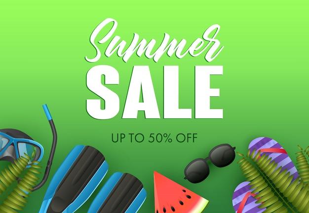 Conception d'affiche colorée de vente d'été. palmes