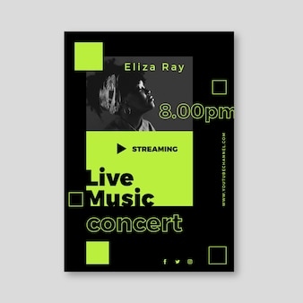 Conception d'affiche de concert de musique en streaming en direct