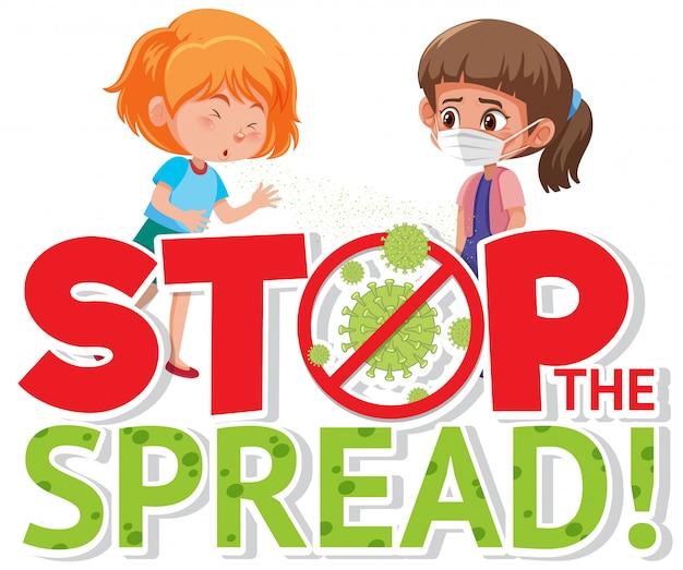 Conception d'affiche de coronavirus avec des filles malades et panneau d'arrêt