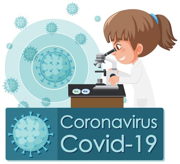 Conception d'affiche de coronavirus avec médecin regardant la cellule virale