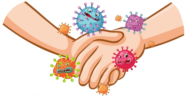 Conception d'affiche de coronavirus avec poignée de main et germes sur les mains