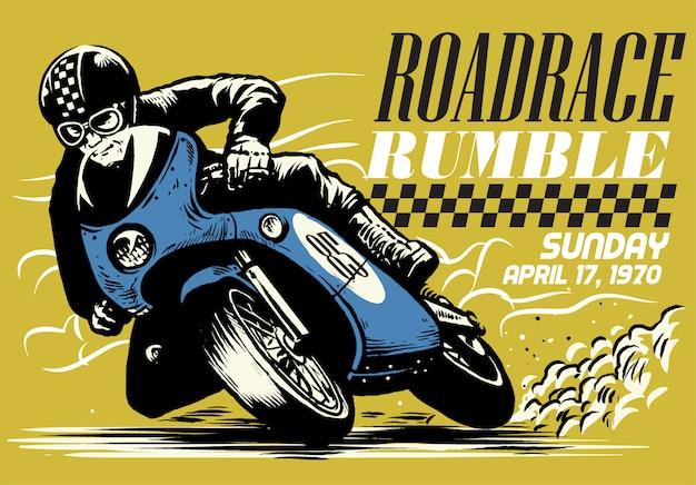 Conception d'affiche de course de moto vintage