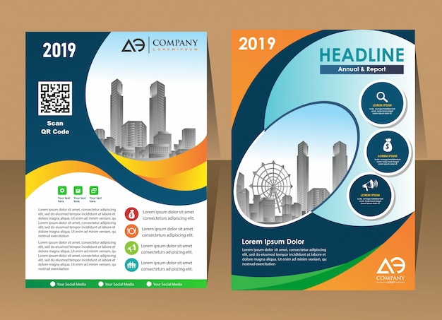 Conception affiche de couverture a4 catalogue livre brochure dépliant mise en page rapport annuel modèle d'affaires