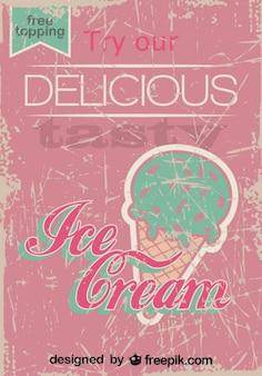 Conception de l'affiche de crème glacée rétro garniture libre