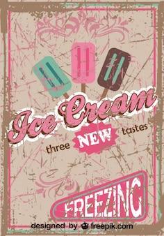 Conception d'affiche de crème glacée rétro nouveaux goûts