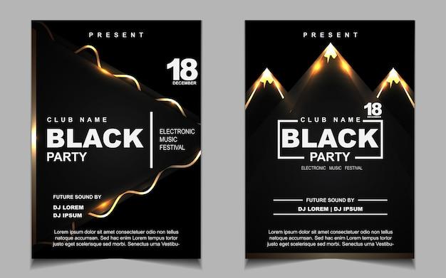 Conception d'affiche ou de dépliant de musique de soirée dansante noire et or