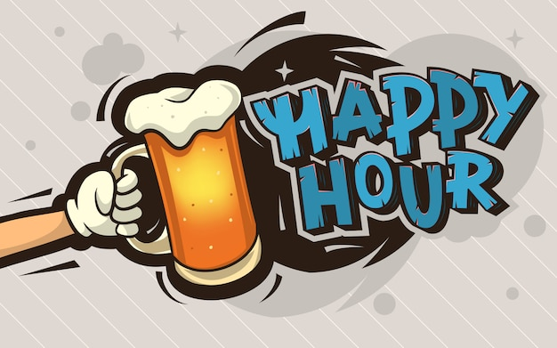 Conception d'affiche de dessin animé happy hour avec une illustration d'une main