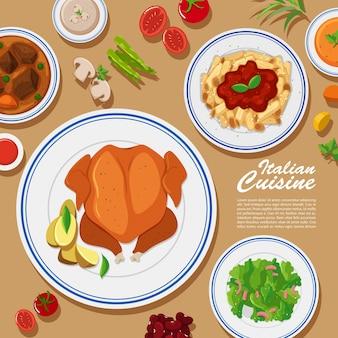 Conception d'affiche avec différents types de nourriture