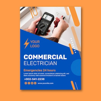 Conception d'affiche d'électricien commercial