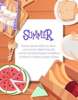 Conception d'affiche d'été avec fond en bois