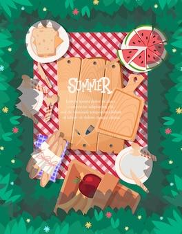Conception d'affiche d'été avec fond de nappe