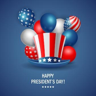 Conception d'affiche fête du président heureux avec chapeau. illustration vectorielle
