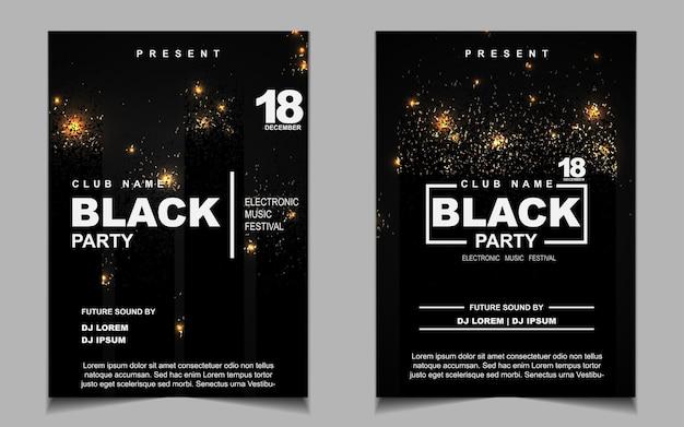 Conception d'affiche ou de flyer de musique de soirée dansante noire et or