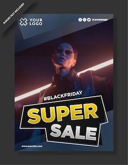 Conception d'affiche, de flyer et de publication sur les médias sociaux du vendredi noir