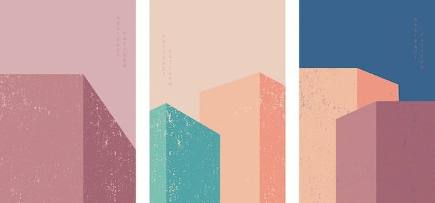 Conception d'affiche de fond architecture. illustration de construction avec décoration carrée colorée.