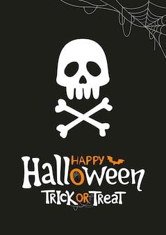 Conception d'affiche halloween crâne et os avec lettrage