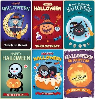 Conception d'affiche halloween vintage avec personnage d'araignée vampire squelette chauve-souris sorcière vectorielle
