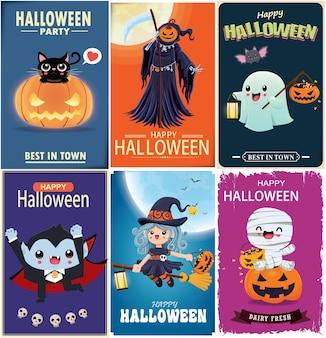 Conception d'affiche d'halloween vintage avec personnage d'araignée vampire vecteur sorcière chauve-souris reaper