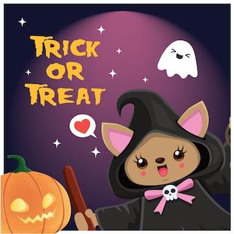 Conception d'affiche halloween vintage avec personnage de chat de sorcière de vecteur