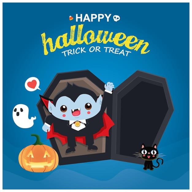 Conception d'affiche d'halloween vintage avec personnage de chat vampire fantôme jack o lanterne de vecteur