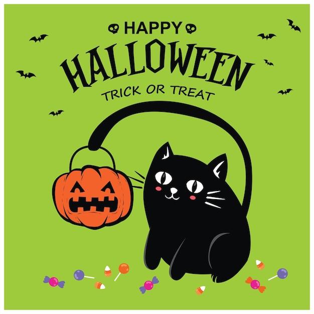 Conception d'affiche halloween vintage avec personnage de chat vectoriel