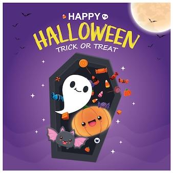 Conception d'affiche d'halloween vintage avec personnage de chauve-souris démoniaque de vecteur fantôme jack o lantern