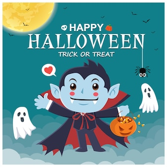 Conception d'affiche halloween vintage avec personnage de citrouille fantôme vampire vectoriel