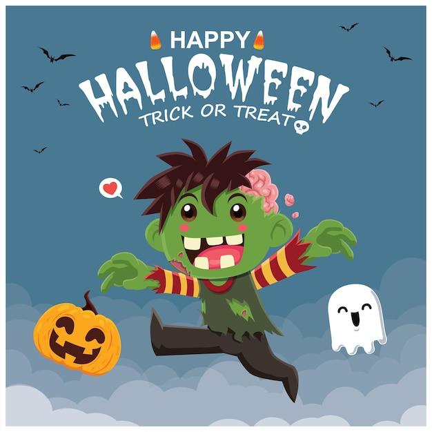 Conception d'affiche halloween vintage avec personnage de citrouille fantôme zombie vectoriel
