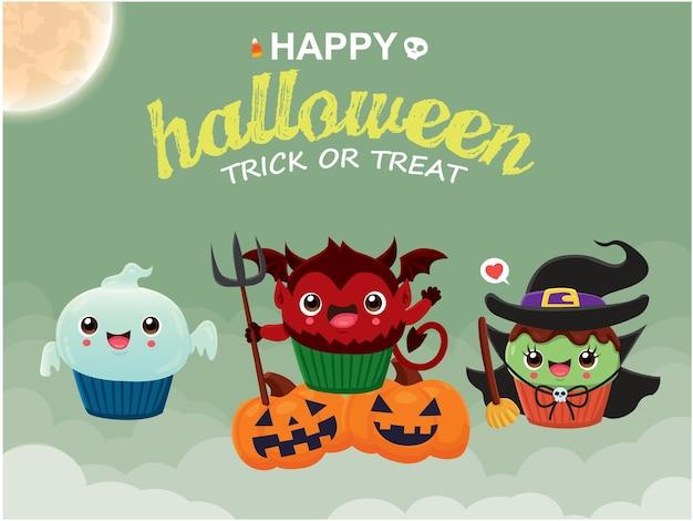 Conception d'affiche d'halloween vintage avec personnage de cupcake de chat fantôme de démon de sorcière de vecteur