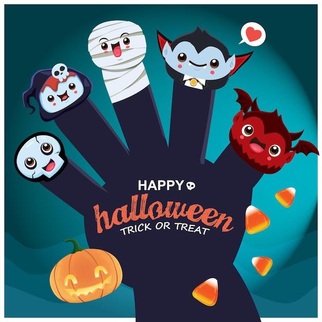 Conception d'affiche d'halloween vintage avec personnage de démon vampire momie squelette vecteur faucheuse