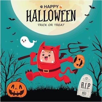 Conception d'affiche halloween vintage avec personnage de démon vectoriel