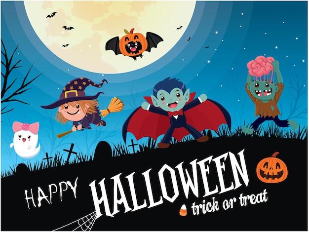 Conception d'affiche halloween vintage avec personnage fantôme de sorcière zombie chauve-souris vampire vecteur