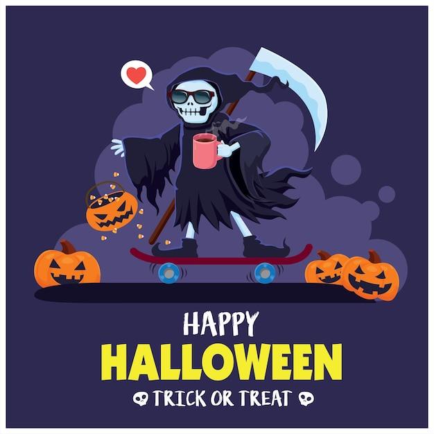 Conception d'affiche halloween vintage avec personnage fantôme squelette vectoriel