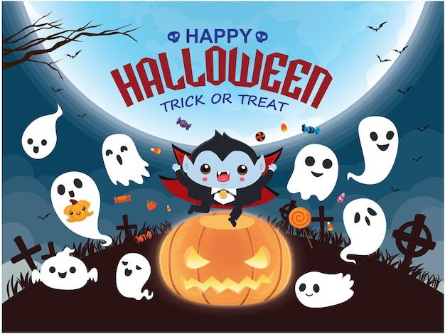 Conception d'affiche halloween vintage avec personnage fantôme de vampire vectoriel