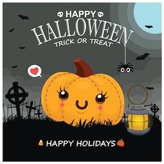 Conception d'affiche halloween vintage avec personnage fantôme de vecteur jack o lantern