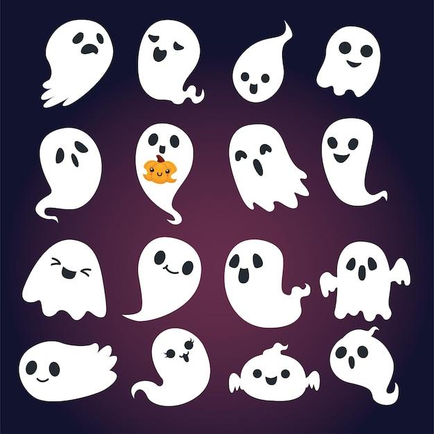 Conception d'affiche halloween vintage avec personnage fantôme vectoriel