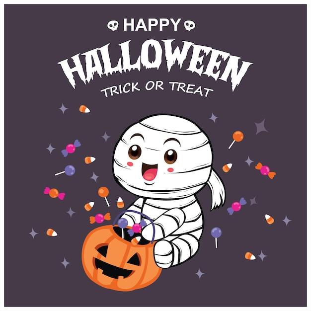 Conception d'affiche halloween vintage avec personnage de momie vectorielle