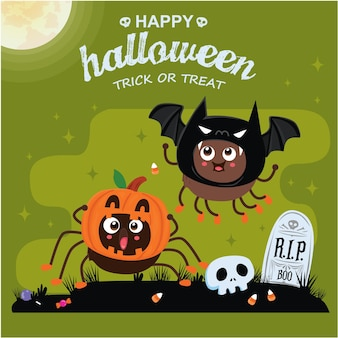 Conception d'affiche d'halloween vintage avec personnage de vecteur de chauve-souris araignée jack o lantern
