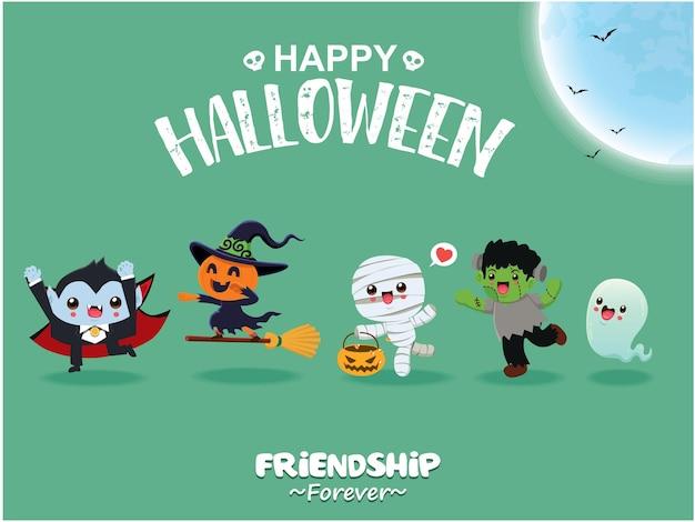 Conception d'affiche halloween vintage avec personnage de vecteur fantôme jack o lantern