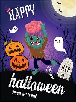 Conception d'affiche d'halloween vintage avec personnage de vecteur zombie ghost jack o lantern