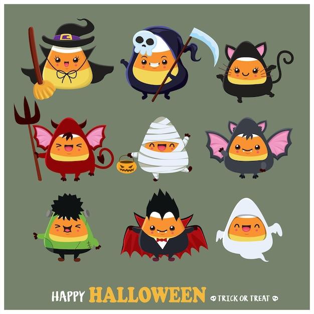 Conception d'affiche halloween vintage avec vecteur chat fantôme sorcière démon sorcière faucheuse vampire momie