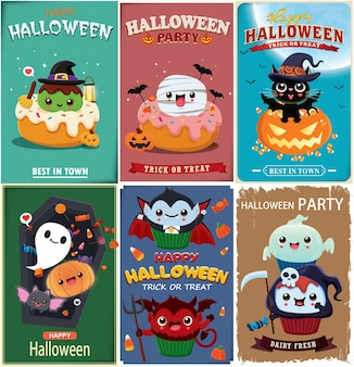 Conception d'affiche halloween vintage avec vecteur sorcière chauve-souris faucheuse vampire momie araignée fantôme