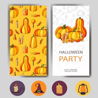 Conception d'affiche happy halloween. modèle avec des symboles de style dessin animé. invitation fête