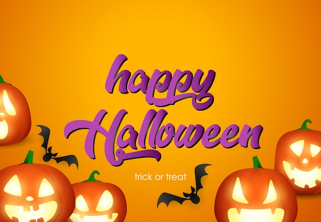 Conception d'affiche happy halloween avec des têtes de citrouille et des chauves-souris volantes
