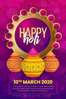 Conception d'affiche happy holi festival